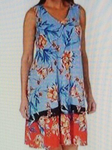 MSK Women/'s Trapeze Floral Color Blocked Puff Print Casual Dress,Sky Orange-PLUS