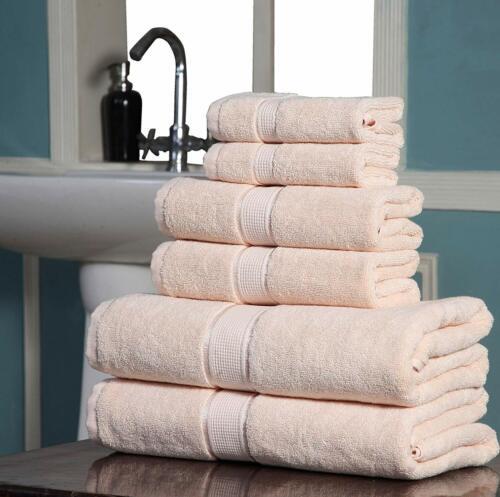Spa-Hotel Quality 100/% Cotton Absorbent 600 GSM 6PC Bathroom Towel Set BEIGE