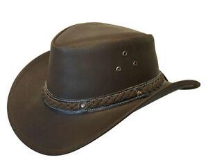 In Pelle Cowboy Western Stile Cappello Australiano Bush-Marrone scuro