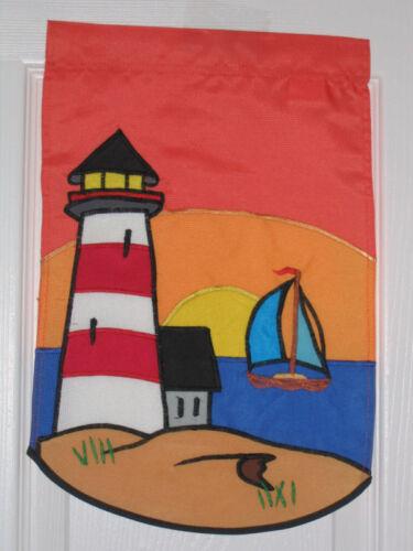"RED AND WHITE LIGHTHOUSE MINI GARDEN FLAG 10/"" X 16/"""