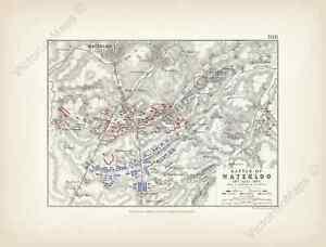 Battle of Waterloo sheet 1 A K Johnston Alison's Atlas map 1850 art print poster