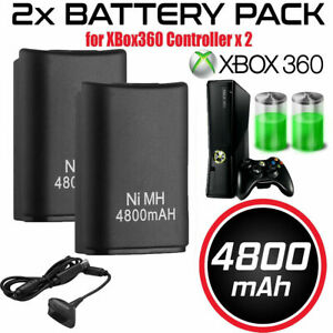 For-Microsoft-Xbox-360-Wireless-Controller-2x-Battery-Pack-Charger-Cable-Black