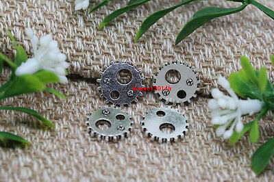 Free Shipping 50pcs Antique Silver Lovely Filigree Mini Gear Charms Pendant 12mm
