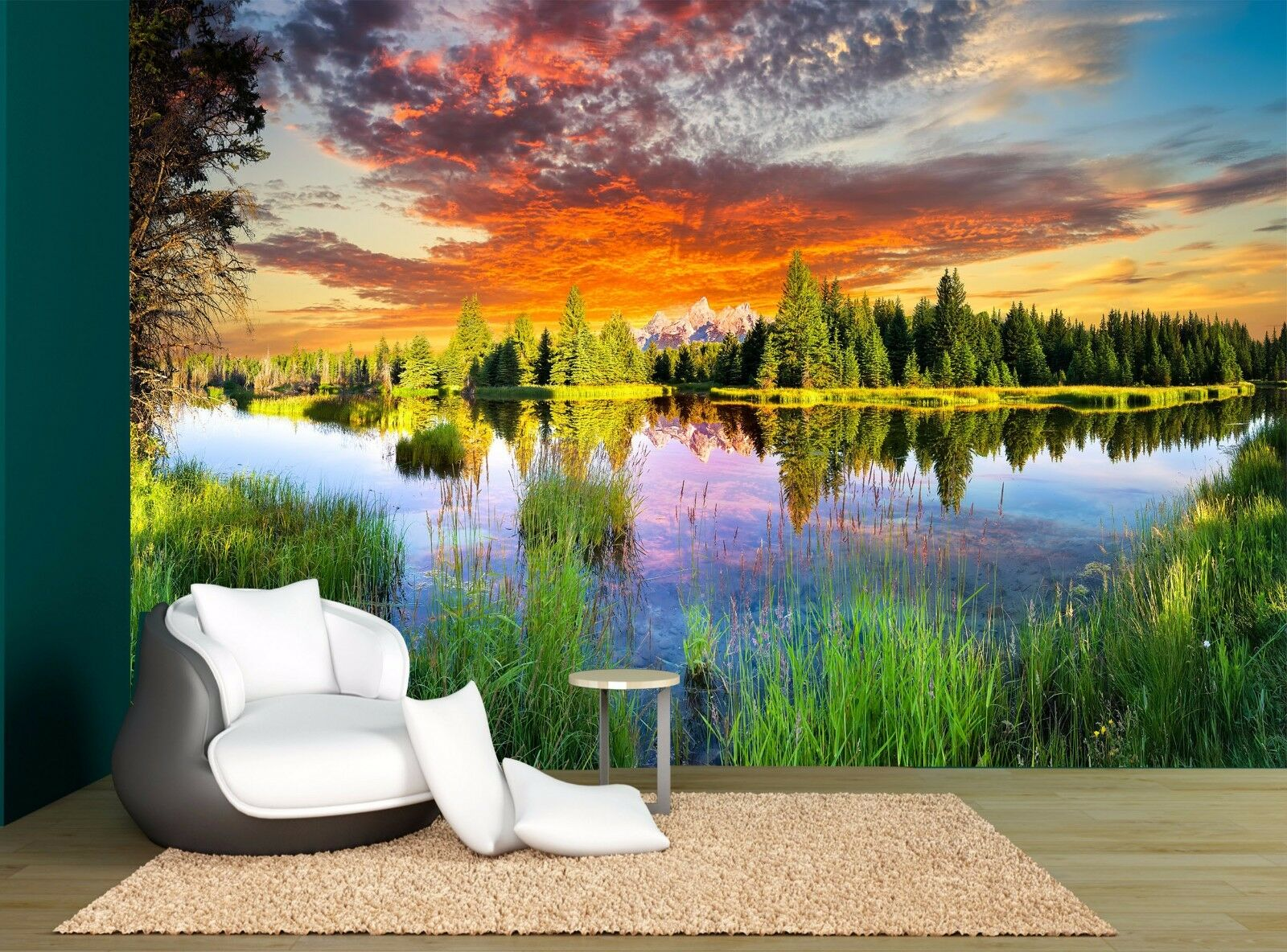 Sunset Clouds Lake Forest River Wall Mural Photo Wallpaper GIANT WALL DECOR