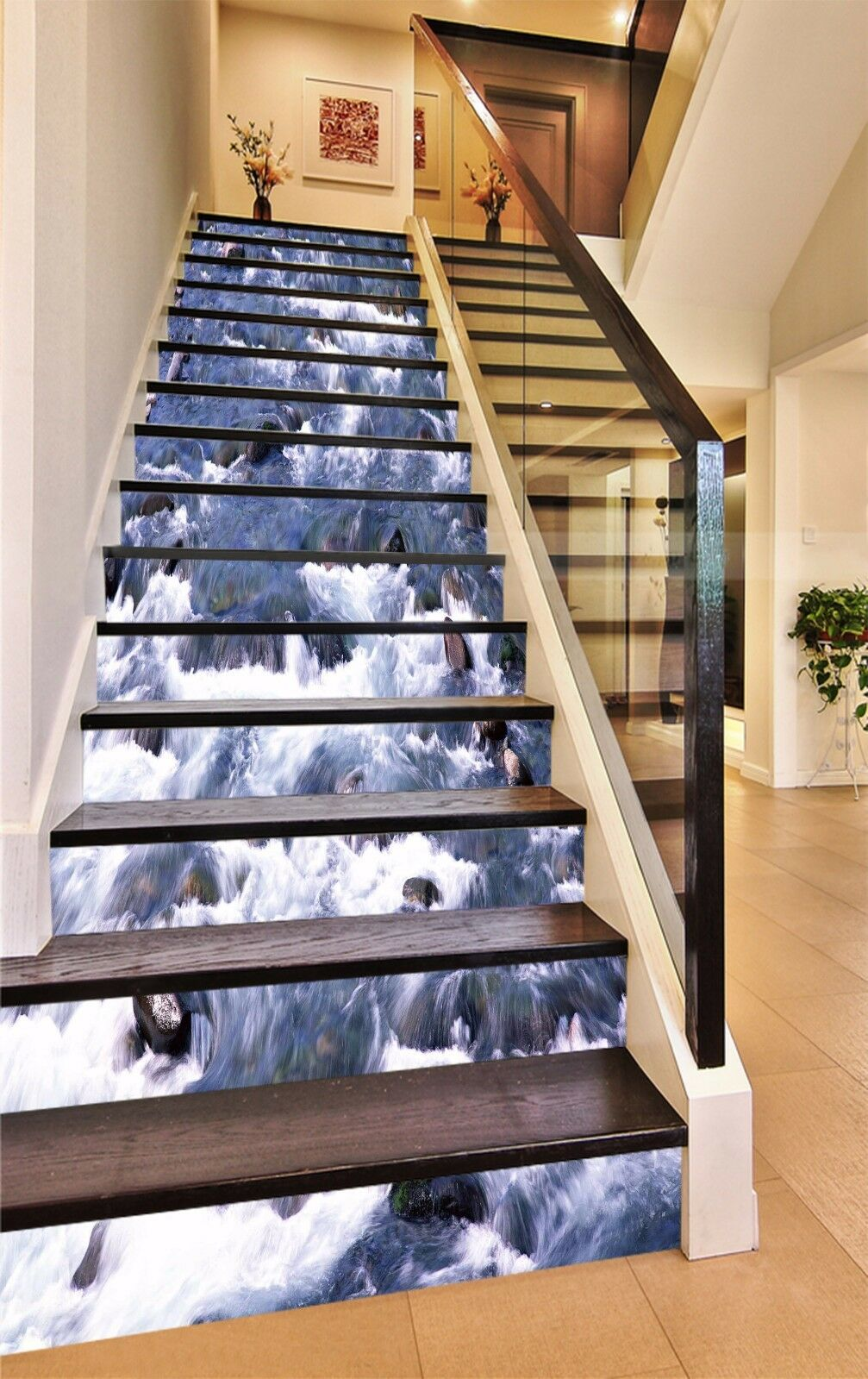 3D Stream Stone 878 Stair Risers Decoration Photo Mural Vinyl Decal Wallpaper AU