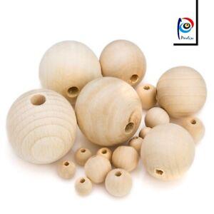 300-Natur-Holz-Perlen-Rund-Mix-8-10-12-14-16-20mm-Schmuck-Basteln-Buche-Holz
