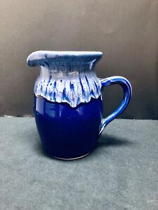 old fort NC John Garrou signed blue glaze drip pottery pitcher