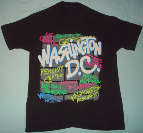 VTG 80s WASHINGTON DC GRAFFITI ART TOURIST T SHIR… - image 1