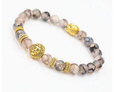Cheapest Men's Black Lava Stone Gold Lion Buddha Beaded Charm Bracelet New Hot