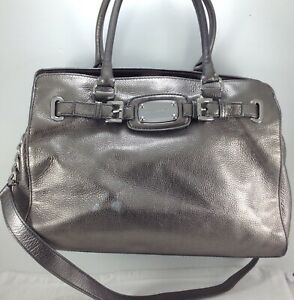 2de06cbc1 Image is loading Michael-Kors-Hamilton-Shoulder-Handbag-Large-Metallic- Silver-