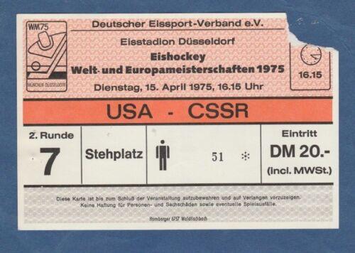 CSSR  ! Orig.Ticket  Eishockey WM Deutschland 1975  Finalrunde  USA TOP