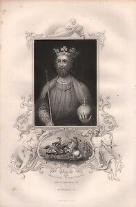 C1850 Victorian Print ~ Edward Ii ~ Inset Battle Of Bannockburn High Quality Goods Art