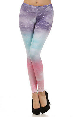 Womens Rainbow Cosmic Multi Purple Pink Blue Fashion Leggings Tights Pants S M L