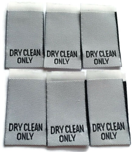 10 Dry Clean Only Woven Labels Clothing Garment Label Cut /& Loop Folded White