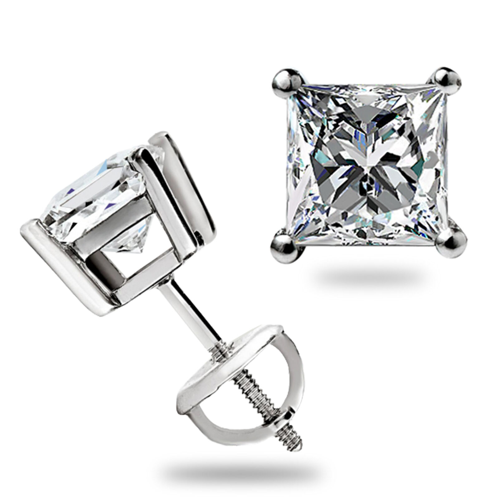 2 ct princess cut solitaire stud earrings solid 14k white. Black Bedroom Furniture Sets. Home Design Ideas
