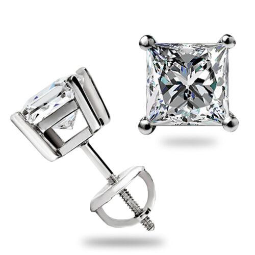 2 Ct PRINCESS CUT SOLITAIRE Boucles D/'oreille 14k solide or Blanc Labo Diamant