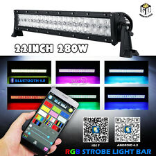 """22INCH 280W LED Light Bar RGB Offroad Bluetooth Disco Strobe Flash PK 12"""" 72W 4"""""""