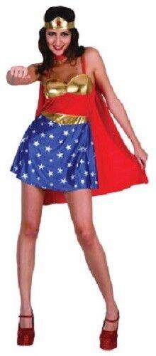 SW Ladies Costume Fancy Dress Super Hero Wonder Woman Cape /& Headband 8 10 12 14