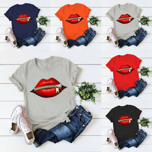Women-Lips-Zips-Printed-Short-Sleeve-T-Shirt-Ladies-Casual-Round-Neck-Blouse-Top