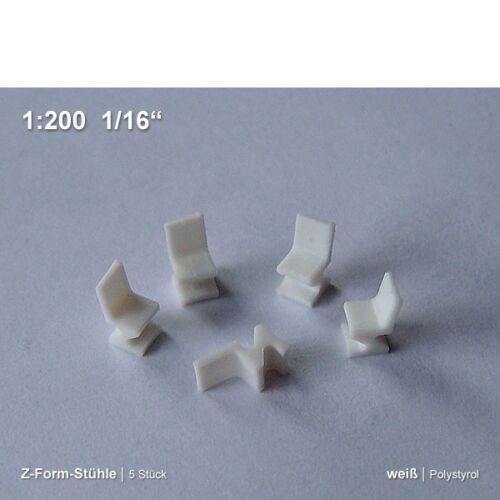 0,59€//Stück Z-Form-Stühle 1:200 5 Stück Polystyrol weiß