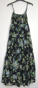 Marks-amp-Spencer-Per-Una-Navy-floral-Boho-Summer-Holiday-Maxi-Dress-Size-8-18