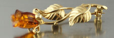 Russian natural  Amber real 585 14 k gold brooch 3.6 gr US seller New
