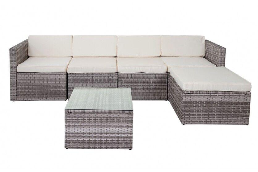 Polyrattan Loungegruppe Lounge Lounge Lounge Outdoor Sofa Couch grau  Sitzgruppe Gartensofa 12ec6a