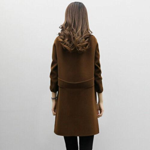 Women Winter Warm Trench Woolen Parka Long Slim Coat Outwear Long Lapel Jacket