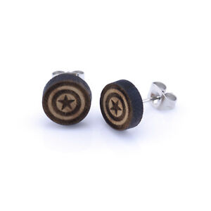 Captain-America-Wooden-Ear-Studs-Round-Wood-Earring-Unisex-10mm