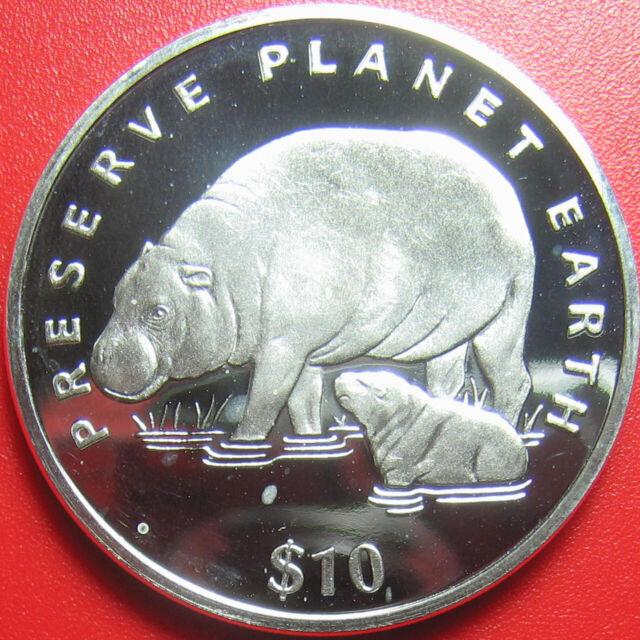 1994 LIBERIA $10 PROOF 1oz SILVER PYGMY HIPPOPOTAMUS PRESERVE PLANET EARTH RARE!