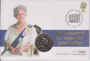 GB-QEII-FAR-rintracciare-COIN-COVER-2000-Regina-Madre-100TH-compleanno-5-Coin-Mercurio