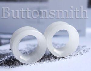 "Gauges 10 sizes 2g 1/"" Pair of Teardrop White Quartz Organic Stone Plugs"