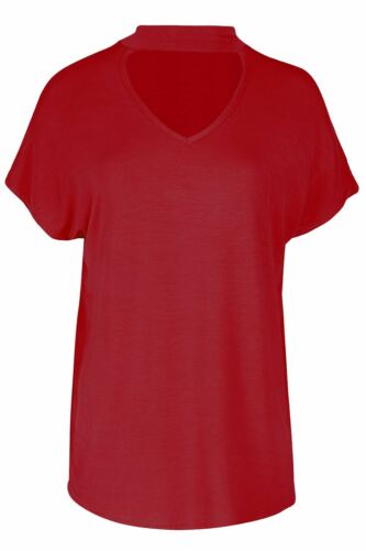 Womens Ladies Lagenlook Baggy Oversized Choker Neck Short Sleeve Tee T Shirt Top