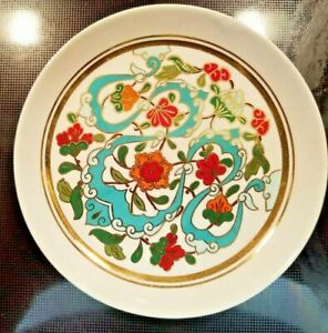 Artist-Signed-Wall-Plate-Made-In-Turkey-Sumerbank-UPS-Hand-Decorated