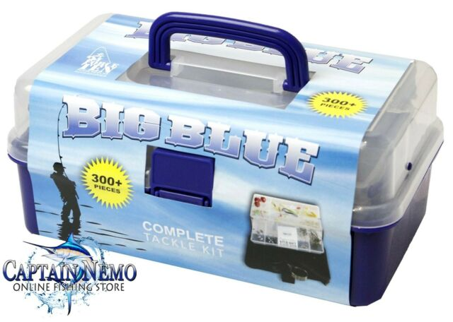 BIG BLUE 300PC FISHING ACCESSORIES TACKLE BOX COMPLETE 2 TRAY TACKLE KIT M4573