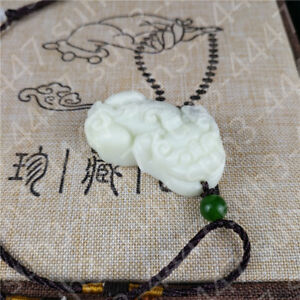 Chinese Natural White Jade Dragon Pendant Necklace Pixiu Amulet Charm Jewelry