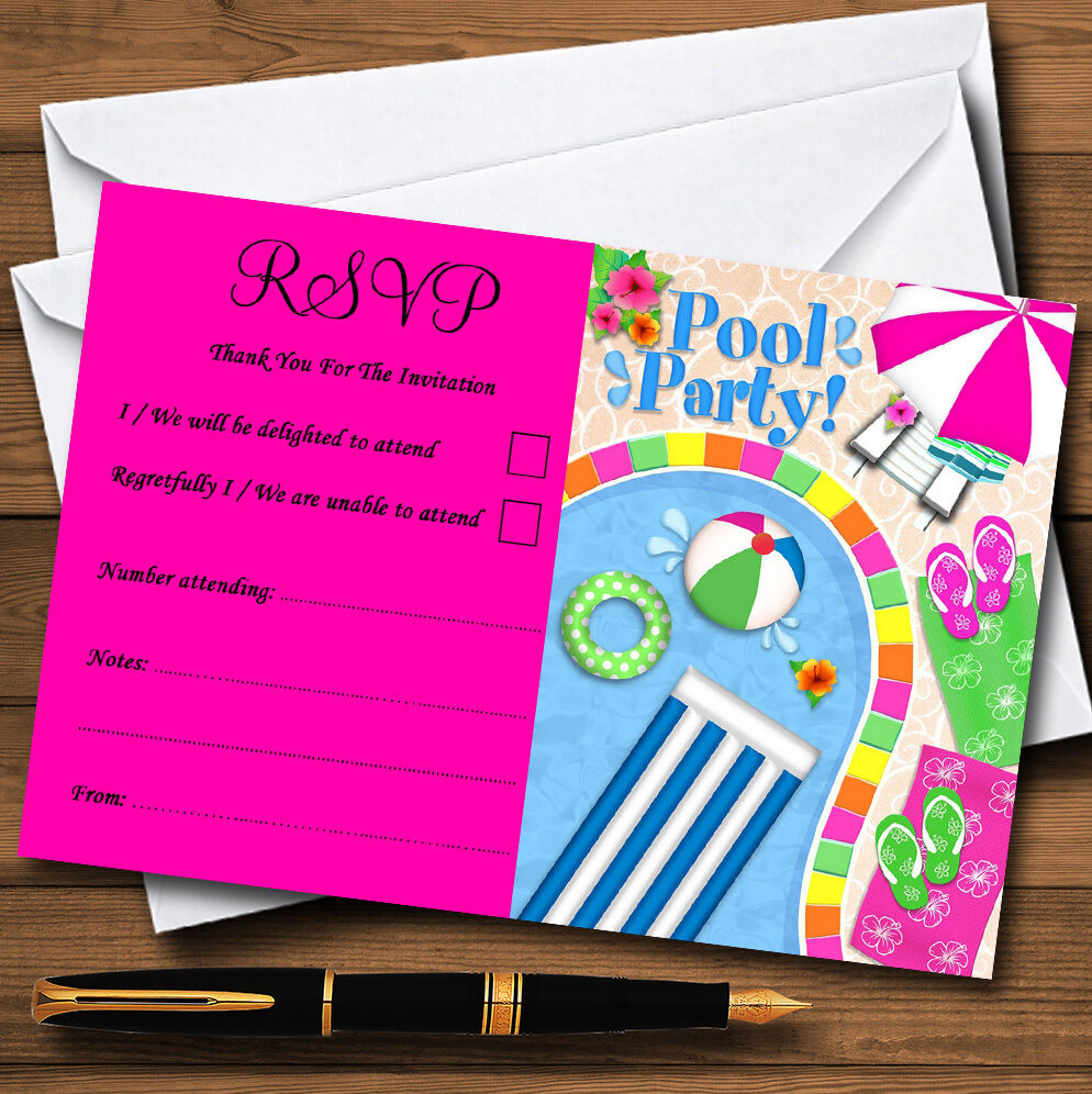 rosa CALDO ESTATE PISCINA SPIAGGIA personalizzato matrimonio o partito partito partito RSVP CARDS f6ff46