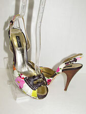 Di BEATRICE Canvas Leather Peep Toe Sling Back Heel Shoes SZ 39 - 9