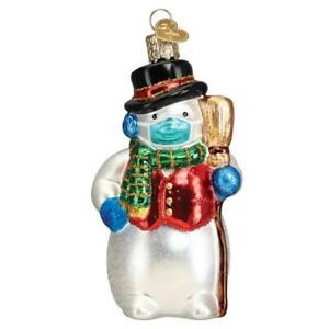 Old World Christmas SNOWMAN WITH FACE MASK (24209)N Glass Ornament w/ OWC Box