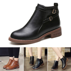 3ab9d6a9 Details about Women Ladies Chelsea Flat Ankle Boots Casual Buckle Side Zip  Low Heel Shoes Size