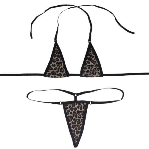 Women Micro G-String Bikini Halterneck Sliding Top Thongs Bra Swimwear Sets