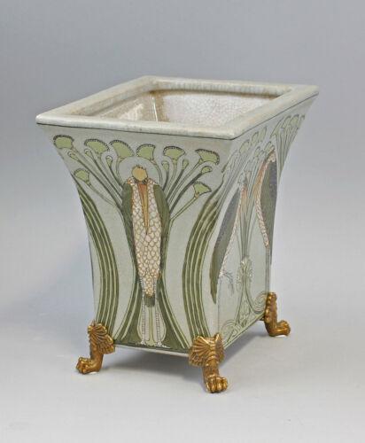 9937460-dss Schale Vase Marabu floral Keramik//Bronze Jugendstil 20,5x21,5cm