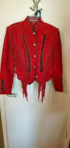 Cripple Creek women's suede red fringes and bones