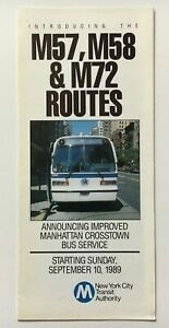 Vintage September 1989 New York City Nycta Mta Manhattan Crosstown