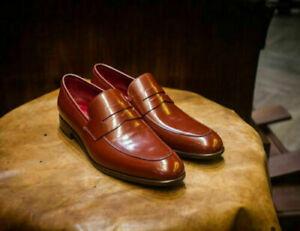 Chaussures habillées mocassins en cuir véritable orange Tan pour hommes faits à