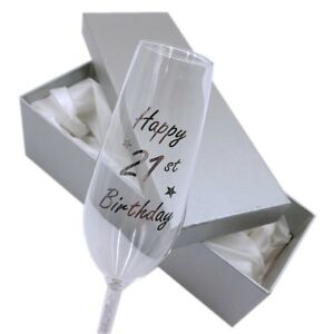 Image Is Loading Birthday Champagne Glass Gift Premium Engraved Sparkle