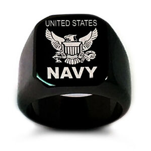 Details about U S  Navy Logo Ring, Personalize Custom Engrave Stainless  Steel Ring, Black Ring