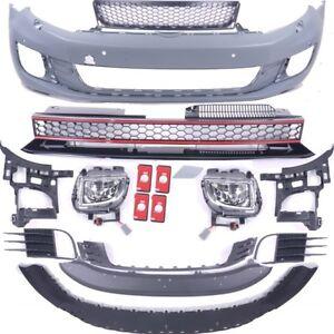 VW-GOLF-6-VI-Front-Stossstange-vorne-Nebel-fuer-GTI-Umbau-Grill-fuer-PDC-amp-SRA