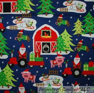 BonEful-Fabric-FQ-Cotton-Quilt-Blue-Red-Green-Barn-Xmas-Santa-Animal-Farm-Pig-US