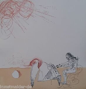 MUSEALE-Salvador-Dali-Original-Radierung-242-Piano-chevelure-dans-un-desert